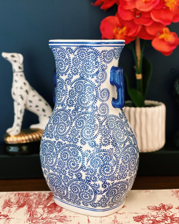 Blue & White Chinese Flat Vase With Handles
