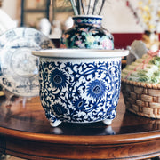 Blue and White Chinoiserie Footed Planter