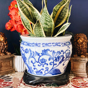 Blue and White Chinoiserie Planter With Stand