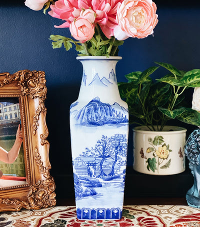 Square Blue & White Bombay Chinoiserie Vase
