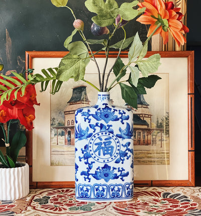 Blue & White Single Stem Chinese Vase With Chinese Symbols
