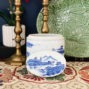 Blue Willow Chinoiserie Ceramic Canister