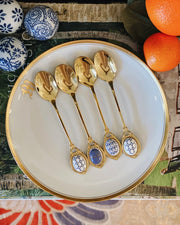 Set Of 4 Gold Teaspoons With Blue & White Handles
