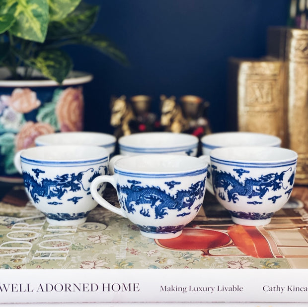 Blue & White Chinese Dragon Tea Cups Set