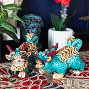 Pair of Turquoise Glazed Kylin Chinese Dragons