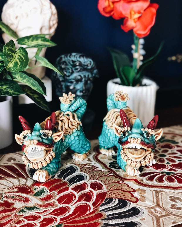 Pair of Turquoise Glazed Kylin Chinese DragonsPair of Turquoise Glazed Kylin Chinese Dragons