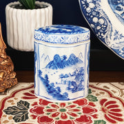 Blue Willow Style Chinoiserie Ceramic Canister