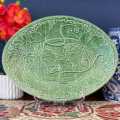 Bordallo Pinheiro Green Vines Oval Majolica Platter