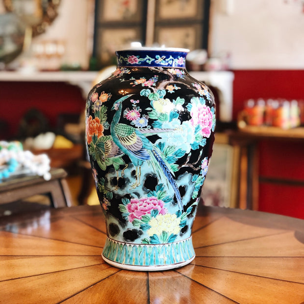 Chinese Export Famille Noire Vase With Blue Phoenix Bird
