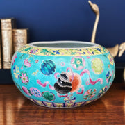 Chinese Turquoise Famille Rose Round Planter