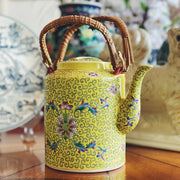 Chinese Famille Jaune Teapot With Bamboo Handles