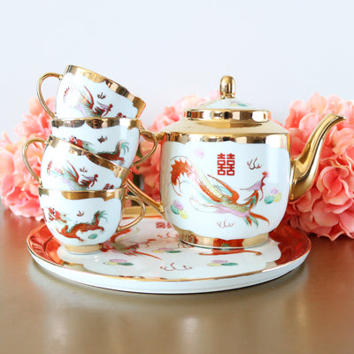 Chinese Gold Dragon & Phoenix Tea Set