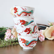 Chinese Red Dragon Tea Cups Set of 4