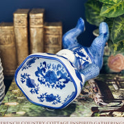 Chinoiserie Blue & White Monkey Dish Holding Lotus Dish
