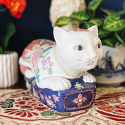 Chinoiserie Ceramic Cat Figurine