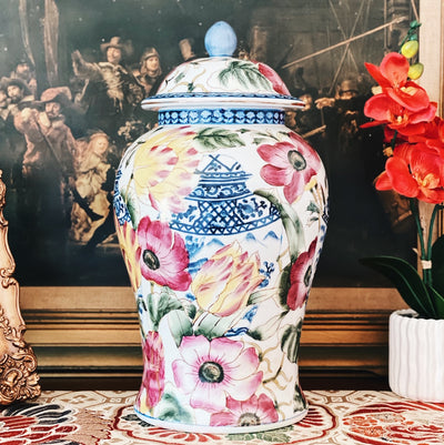 Chinoiserie Floral Blue & White Temple Jar