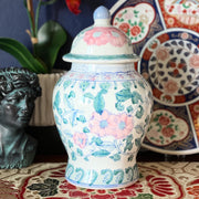 Chinoiserie Floral Green & Pink Temple Jar