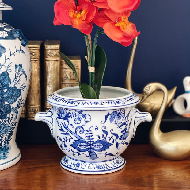 Blue and White Chinoiserie Jardiniere Planter