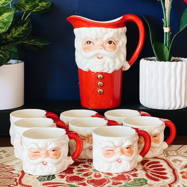 Christmas Winking Santa Pitcher & Mugs Set