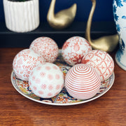 Vintage Coral & White Porcelain Carpet Balls Set Of 6