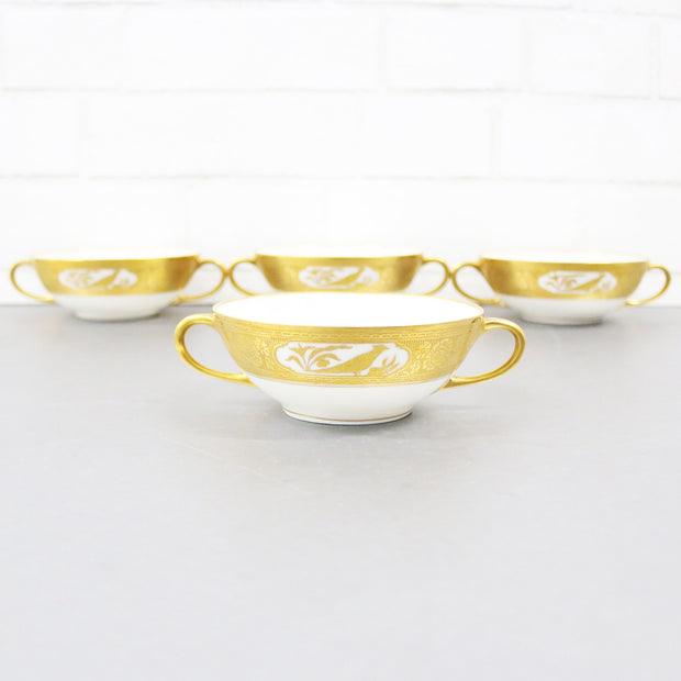 Double Handle Cream Soup Bowls, Set Of 4, By Hutschenreuther Bavaria