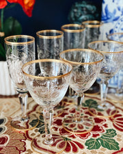 Etched Crystal Cocktail Coupe & Champagne Flutes Set