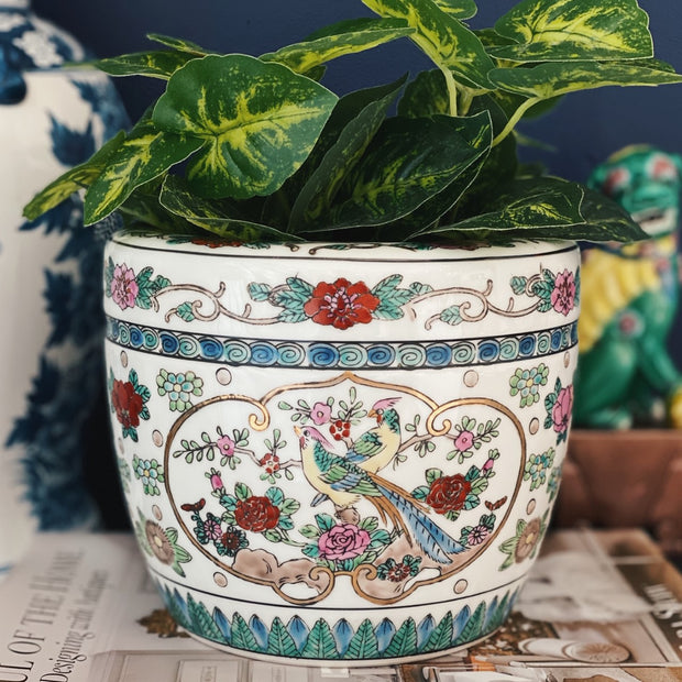 Gold Imari Hand Painted Pheasants Planter