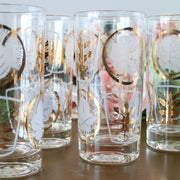 Gold Long Drinks Cocktail Glasses