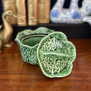 Green Cabbage Leaf Sugar Bowl With Lid