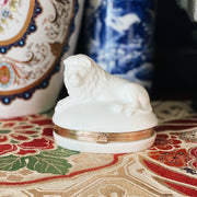 Japanese White Lion Hinged Trinket Box