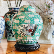 Japanese Green & Gold Imari Ginger Jar