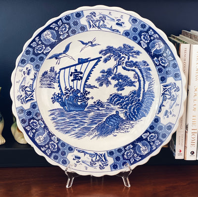 "Large 16"" Blue & White Chinese Crane Charger"