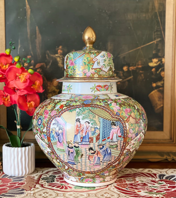 "Large 20"" Chinese Rose Medallion Ginger Jar"