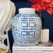 Large Blue and White Ginger Jar Double Happiness