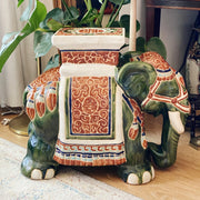 Large Chinoiserie Ceramic Elephant Planter Stand