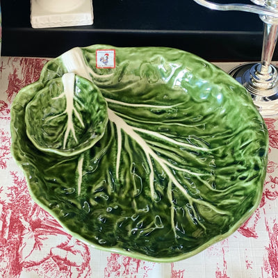 "Large 13"" Green Cabbage Leaf Chip & Dip Bowl"