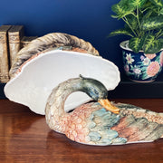 Large Italian Ceramic Mallard Duck Covered Dish