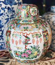 Large Rose Medallion Canton Porcelain Ginger Jar
