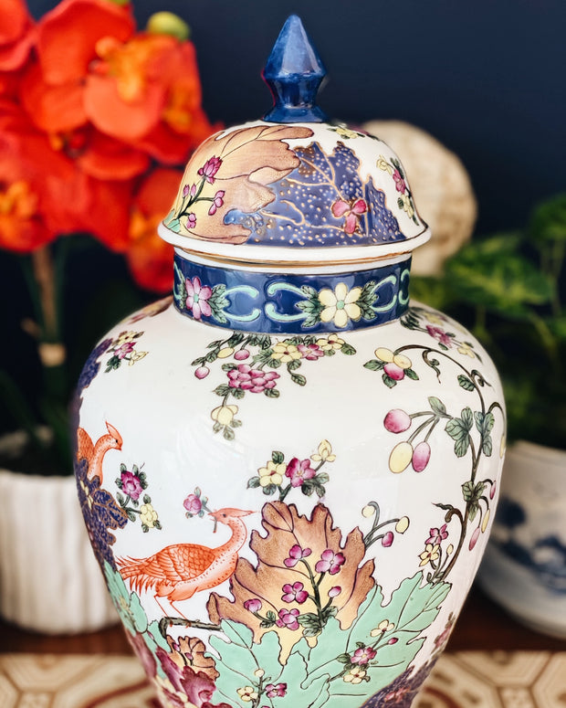 Large Tobacco Leaf Chinoiserie Template Jar