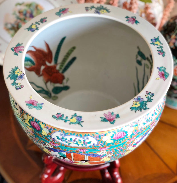 Large Vintage Rose Medallion Fish Bowl Planter