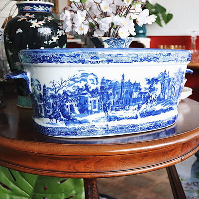 Chinoiserie Chic Blue & White Transferware Foot Bath