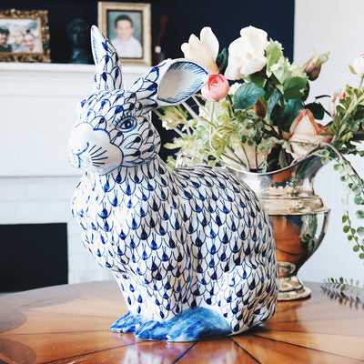 Large Blue and White Porcelain Bunny Rabbit