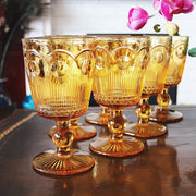 Mid-Century Amber Drinking Goblets Set of 2