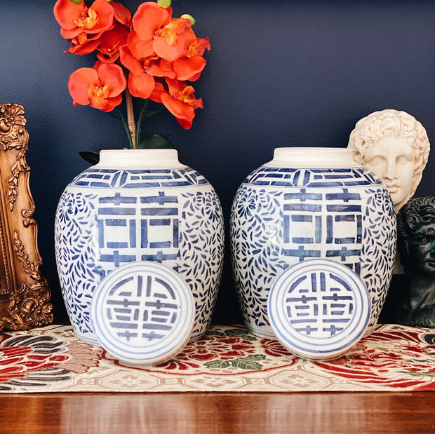Pair Of Blue & White Ginger Jars Double Happiness