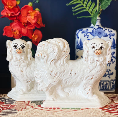 Pair Of Scottish Pekingese Pottery Mantle Dogs