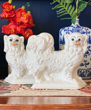 Pair Of Scottish Pekingese Pottery Mantle DogsPair Of Scottish Pekingese Pottery Mantle Dogs