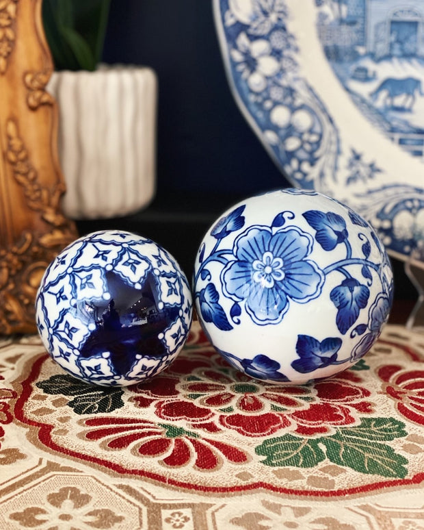 Pair of Blue & White Porcelain Carpet Balls