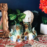 Pair of Blue and Green Ceramic Foo Dog Figurines