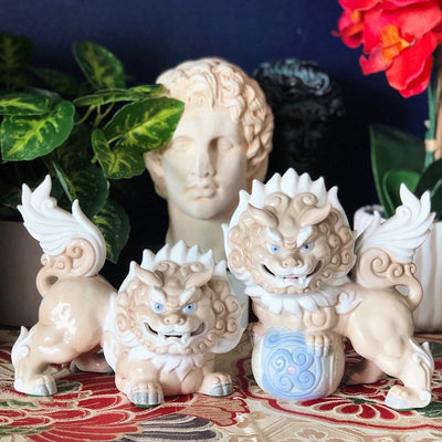 Pair of Ceramic Komainu Dogs, Foo Dog Figurines