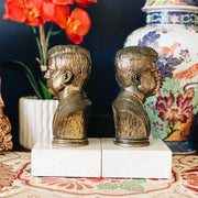 Pair of Mid-Century Brass JFK Bookends With Marble Base